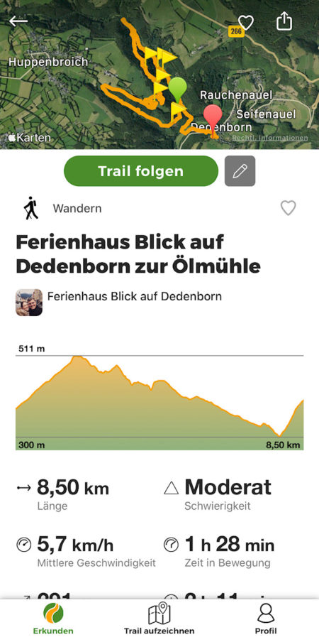 Wandelen Ferienhaus Blick auf Dedenborn Monschau Nord Eifel Simmerath